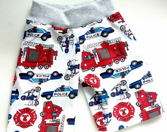 Shorts cotton police car Baby boy fire truck short Toddler boy cotton shorts with elastic waist Police motobike shorts