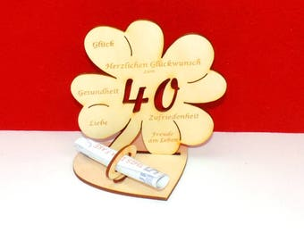 Cloverleaf for 40 or 45 birthdays or wedding day with congratulations and bank note holder