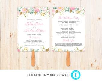 Flower Wedding Program,Printable Ceremony Template, Wedding Program Printable, Instant Download,Fully Editable