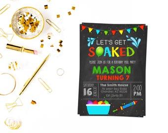 Water balloon party,Splish Splash Birthday Bash, Backyard Water, water balloon, pool party, pool invitation, pool birthday