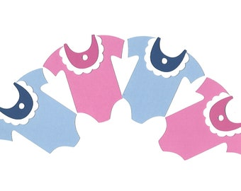 Baby Onesie Gift Tags, Pink or Blue, Baby Boy or Girl Shower Party Favor Tags, Set of 12, TwoSistersGreetings