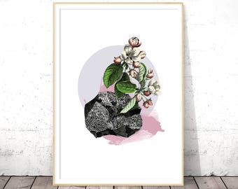 Floral Wall Art, Flower Art Print, Botanical Print, Shabby Chic Art, Modern Flower Wall Art, Digital Download Art, INSTANT DOWNLOAD