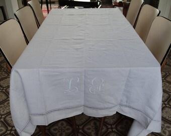Vintage 1930 linen L.G. embroidered large tablecloth (3,10 m  2 m)