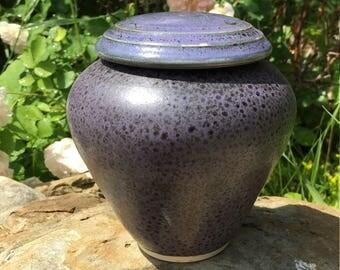 Small Purple and Black Urn Memorial Cremains Vase
