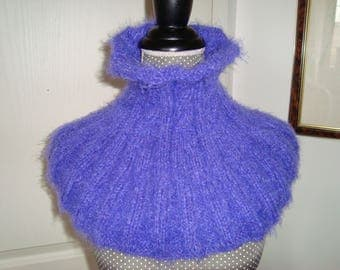 Snood neck warmer cowl neck wool super soft mohair with twisted purple way