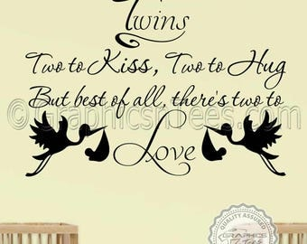 Twins Nursery Wall Sticker Baby Boys Girls Bedroom Wall Decor Two To Love Wall Quote Decal