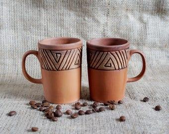 Espresso cup set Rustic coffee mug Cup set Small mug set of 2 Coffee gift Brown cup Stoneware cup Engraved mug Farmhouse gift