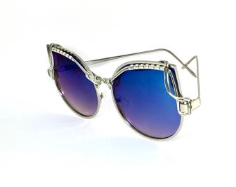 Blue CAT EYE Reflective & Metal Frames ~ SPUNGLASSES ~ Wearable Art ~ Handcrafted Silver Wire Wrap Wrap Sunglasses Sunnies ~  Free Shipping
