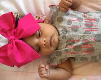 TIED, Pink, Hot Pink Headwrap, Baby Headband,Toddler Bows Headwrap,Big Bow Headwrap, Fuscia Headband,Headwrap, Infant Headwrap, Baby Girl