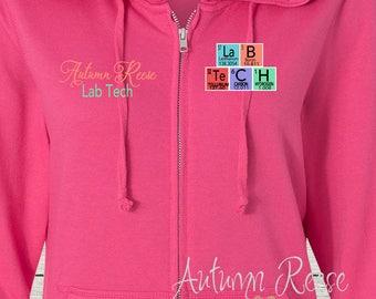 Monogrammed Ladies/Unisex Full-Zip Hooded Sweatshirt Laboratory Technician Customized Personalized XS - 5XL Jacket
