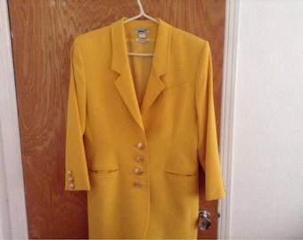 Vintage 1990's yellow designer jacket by Irish designer Paul Costelloe 100% Pure New wool made in Ireland
