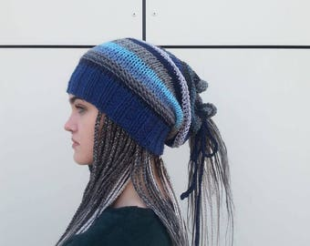Blue Dreadlocks Hats,  Dreadlocks Wrap,  Rasta Hat, Rasta Wraps, Gift for Her, Hat and Scraf 2 in 1,Rasta Beanie, OOAK,  Ready to ship