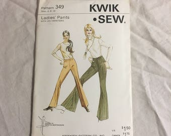 Kwik Sew pattern 349 Ladies Oants with leg variations size 6-8-10 vintage 1970 70's