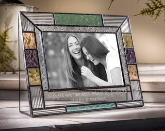 Sister Personalized Picture Frame Colorful Stained Glass Photo Frame 4x6 Vertical Engraved for Sister Gift Pic 391-46H EP570