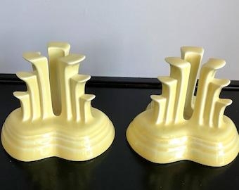 Contemporary (Post-1986) Fiestaware Pale Yellow Tripod Candleholders - Retired Color!!