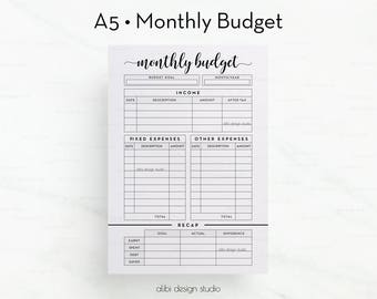 Monthly Budget, A5 Planner Inserts, Budget Planner, Financial Planner, Monthly Tracker, Income Tracker, Expense Tracker, Printable Planner