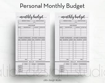 Monthly Budget, Personal Planner, Budget Planner, Printable Planner, Personal Inserts, Planner Inserts, Income Tracker, Expense Tracker