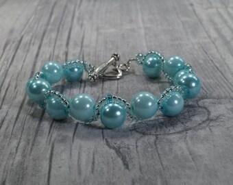 """Bracelet """"Wavy lines"""" Turquoise"""