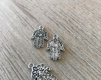 Hamsa charms-antique silver charms-diy jewelry-jewerly supplies-