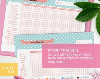 Mood tracker printable - LETTER SIZE planner inserts - bullet journal page - medication tracker v4