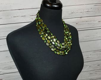 Green Mother Of Pearl Multi Strand Necklace
