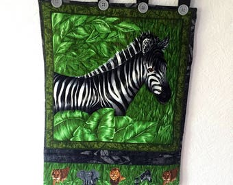 Wall hanging  quilted handmade animal zebra