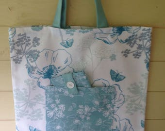 Blue Floral Market bag and phone sleeve