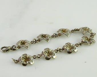 """Floral Sterling Bracelet 7 1/4"""""""