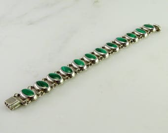 """Old Mexico 950 Sterling Green Stone Bracelet 7 1/2"""""""