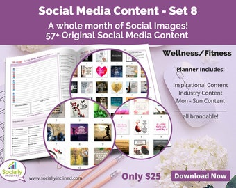 Social Media Images - Content for Fitness / wellness (SET 8) -- 57+ original images with blank planner pages, checklists, tasks, and goals