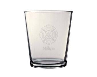 Personalized Firefighter Maltese Cross - 13 oz Glass - Personalized Maltese Cross - FREE shipping in Cont US