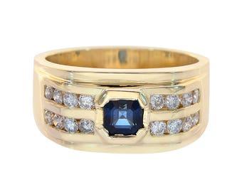 0.65 Carat Round Cut Diamonds And 0.75 Carat Princess Cut Sapphire Channel Setting Mens Ring 14K Yellow Gold