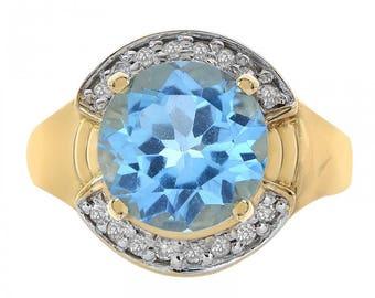 3.50 Carat Blue Topaz and 0.16 Carat Diamond Ring 14K Yellow Gold