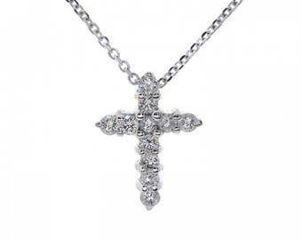 0.40 Carat Round Diamond Cross Pendant 14K White Gold