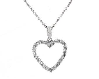 0.55 Carat Round Cut Diamond Heart Pendant on Cable Link Chain 14K White Gold