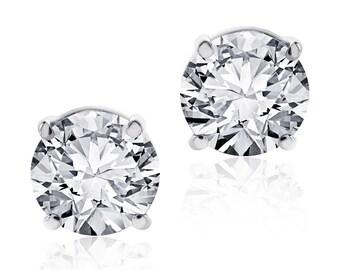 1.45 Carat Round Diamond Stud Earrings F-G/VS2 14K White Gold