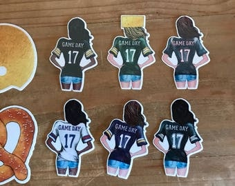 NFL football girl die cuts and stickers. Fall or autumn die cuts. Decorations for planners, travelers notebooks, scrapbooks and memory books