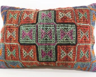 Naturel Embroidered Kilim Pillow Sofa Pillow 16x24 Lumbar Kilim Pillow Sofa Pillow Throw Pillow Decorative Turkish Kilim Pillow SP4060-791