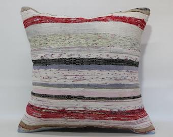 Bohemian Kilim Pillow 24x24 Decorative Striped Cotton Kilim Pillow Sofa Pillow Fllor Pillow Cushion Cover  SP6060-1199