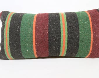 12x24 Striped Kilim Pillow Sofa Pillow Throw Pillow 12x24 Turkish Kilim Pillow Bohemian Kilim Pillow Cushion Cover SP3060-1484