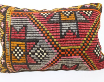 Multicolor Kilim Pillow Lumbar Pillow Turkish Kilim Pillow Sofa Pillow  Throw Pillow Cushion Cover Embroidered Kilim Pillow 16x24 SP4060-858