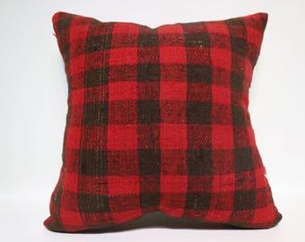 Handwoven Kilim Pillow Throw Pillow 24x24 Red And Black Kilim Pillow Boho Pillow home Decor Ethnic Pillow Cushion Cover  SP6060-1472