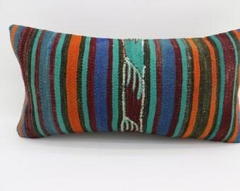 12x24 Multicolor Kilim Pillow Throw Pillow 12x24 Lumbar Pillow Turquoise  Striped Kilim Pillow Ethnic Pillow Cushion Cover  SP3060-1712