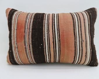 16x24 Kilim Pillow Turkish Decorative Pillow Boho Pillow 16x24 Orange Pillow Striped Pillow Multicolor Pillow Cushion Cover SP4060-1301