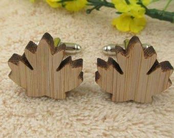 Leaf Wooden Cufflink -k69  - Free Gift Box