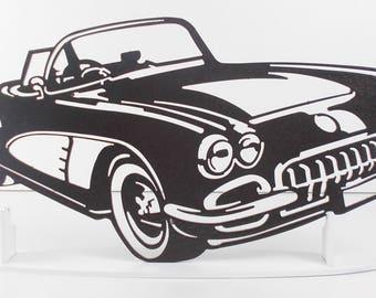 Plaque enseigne Chevrolet Corvette C1 en fer finition peinture effet martelé