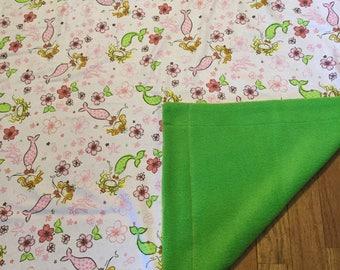 Mermaid pink and green baby blanket