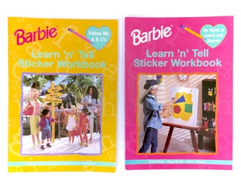 Vintage Barbie Learn n Tell Sticker Workbook Book Lot 2 ABCs Colors Shapes Activity Educational Learning Coloring Retro 90s Original RARE