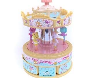 Vintage Carousel Merry Go Round Moose Mountain Toymakers Ballerina Bears Bunnies 90s Musical Fairy Kei Kawaii Pastel Pony Unicorn Blue 90s