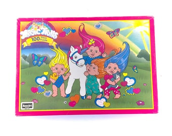 Vintage Magic Trolls Jigsaw Puzzle Rose Art French Canadian Bilingual Box COMPLETE 100 Pieces Rainbow Applause The Gang Trollz 90s Original